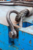 Bolt anchor shackle and wire rope sling. Close up heavy duty bolt anchor shackle and wire rope sling on crane counter weight Royalty Free Stock Photo