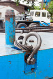 Bolt anchor shackle and wire rope sling Stock Photos