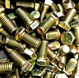 Bolt, Brass, Short, large circumference. Machined precision. used in small construction stock photo
