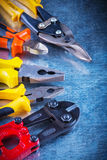Bolt cutter tin snips pliers nippers on scratched Stock Images