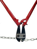 Bolt Cutters Eats Chain. Bolt Cutters eats a metal chain with ease Stock Image