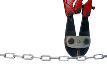 Bolt Cutters greeting a Chain Stock Photos