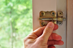 Bolt door. Home safety concept, lock your door with bolt Stock Images