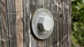 Bolt e rondella in ponte di legno Fotografia Stock