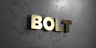 Bolt - Gold sign mounted on glossy marble wall  - 3D rendered royalty free stock illustration. This image can be used for an online website banner ad or a Stock Images