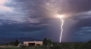 A Bolt of Lightning in the Foothills Royalty Free Stock Photo