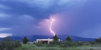 A Bolt of Lightning in the Mountains Royalty Free Stock Images