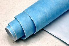 Bolt of nanotextile. A bolt of blue nanotextile made from nanofiber stock photography