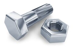 Bolt and nut. Close view of stainless steel bolt and nut isolated over white background Stock Images