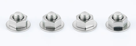 Bolt and nut. On white background Royalty Free Stock Images