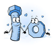 Bolt and nut cartoon - belong together Stock Photo