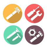 Bolt and nut flat icon, vector illustration Royalty Free Stock Images