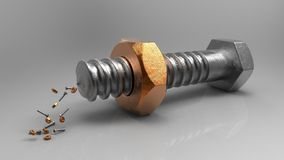 Bolt and nut. Funny reproduction Royalty Free Stock Photo