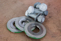 Bolt and nut with gasket Royalty Free Stock Photography