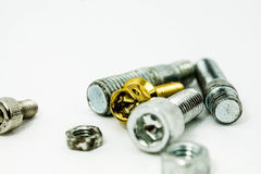 Bolt nut Gold for Motorcycle Royalty Free Stock Photos