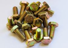 Nuts Bolts Background. Bolt nut hardware industrial closeup construction fastener industry metal metallic royalty free stock image