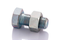 Bolt and nut isolated on white Royalty Free Stock Image