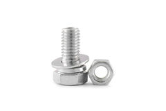 Bolt and nut isolated. On white background Royalty Free Stock Photos