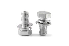 Bolt and nut isolated. On white background Stock Photos
