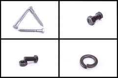 Bolt, nut, nail, and metallic rings, hardware set Stock Photo