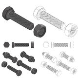 Bolt and nut set all view isometric Stock Photo