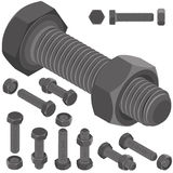 Bolt and nut set all view isometric Stock Image