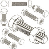 Bolt and nut set all view isometric Royalty Free Stock Photography