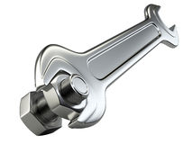 Bolt nut and spanner. Royalty Free Stock Photos