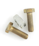 Bolt and nut tools on white background Stock Photos