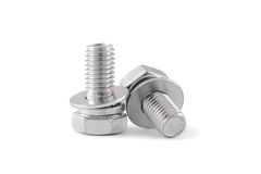 Bolt and nut. On white background Royalty Free Stock Photo