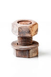 bolt and nut  on white background Royalty Free Stock Image