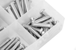 Bolt in plastic organizer box. On white royalty free stock photo