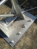Bolt and plate of steel structures Royalty Free Stock Photography