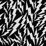 Bolt retro seamless pattern in black and white Royalty Free Stock Photo