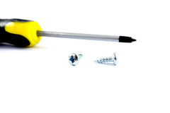 Bolt and screw driver Royalty Free Stock Images
