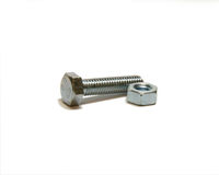 Bolt and screw-nut. Head bolt and screw nut, one, two Stock Image