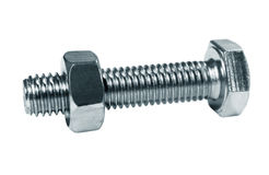 Bolt, screw the nut on it Royalty Free Stock Photography