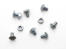 Bolt and screw nut isolated. Bolt and screw nut on white background Stock Photos
