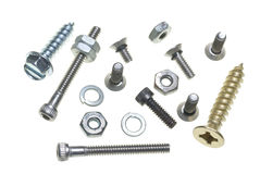 Bolt & screw selection. Montage of various nuts, bolts, screws and washers Royalty Free Stock Photos