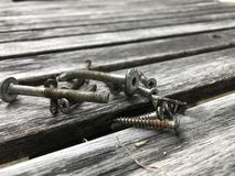 Bolt, screw on table wood. Type of bolt and screw on wood table Stock Images