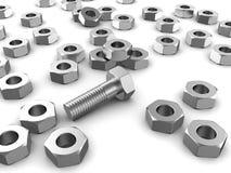 Bolt with screws Stock Photos
