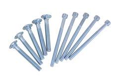Bolt set. Set of chrome metallic screws. fasteners. screed. tool stock photos