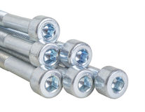 Bolt set. Set of chrome metallic screws. fasteners. screed. tool stock photo
