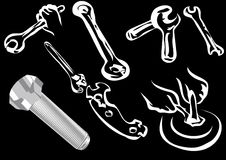 Bolt and tools Royalty Free Stock Photos