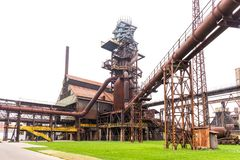Bolt Tower and the blast furnace in Vitkovice in Ostrava, Czech Republic. Old steel factory in Dolni Vitkovice stock photography