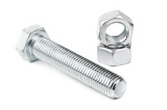 Bolt and two nut Stock Image