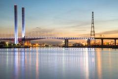 Bolte bridge the iconic landmark of Docklands, Melbourne, Australia. Royalty Free Stock Image