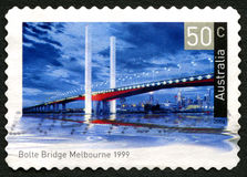 Bolte Bridge in Melbourne Australian Postage Stamp. AUSTRALIA - CIRCA 2004: A used postage stamp from Australia, depicting an image of Bolte Bridge in Melbourne stock photography