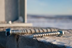 Bolted connection on the construction site. Fastening metal structures on the construction site stock photo