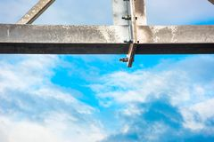 Bolted construction against a sky. Bolted construction against a blue sky royalty free stock images